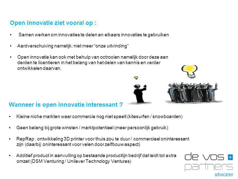 Open innovatie ziet vooral op :