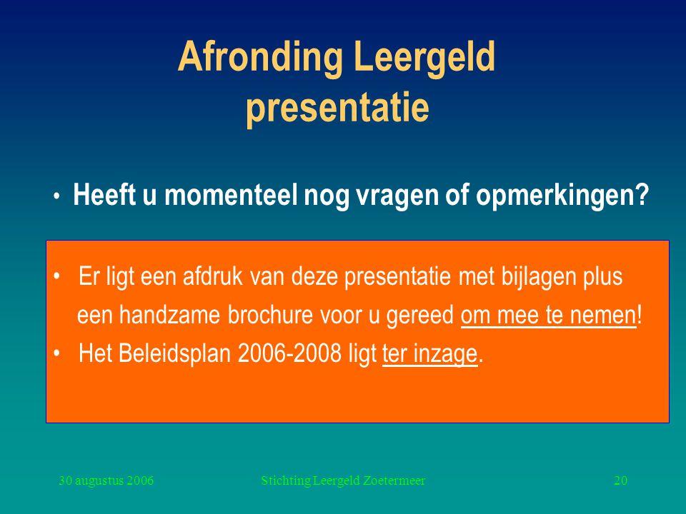 Afronding Leergeld presentatie