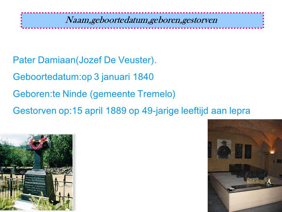 Pater Damiaan(Jozef De Veuster). Geboortedatum:op 3 januari 1840