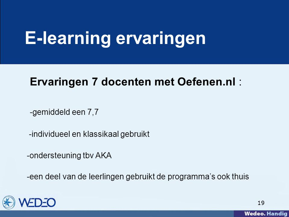 E-learning ervaringen