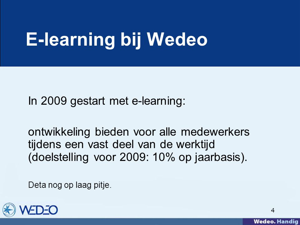 E-learning bij Wedeo In 2009 gestart met e-learning: