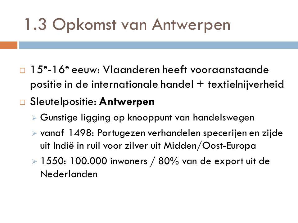 1.3 Opkomst van Antwerpen 15e-16e eeuw: Vlaanderen heeft vooraanstaande positie in de internationale handel + textielnijverheid.