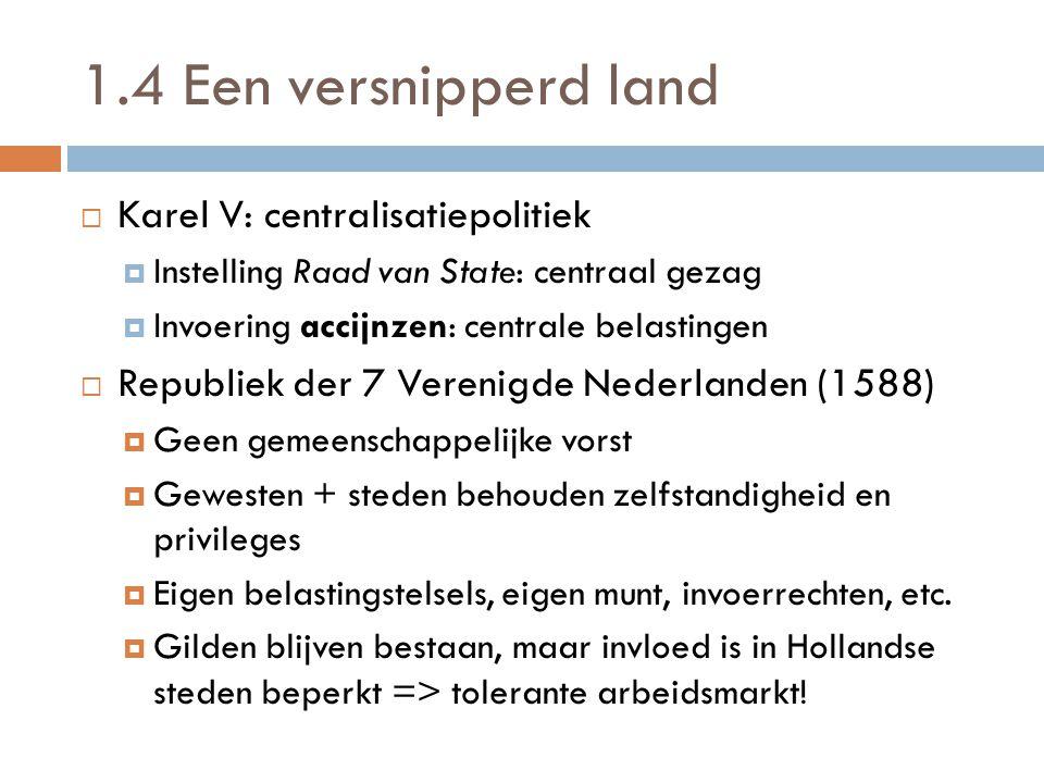 1.4 Een versnipperd land Karel V: centralisatiepolitiek