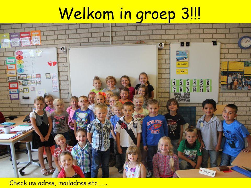 Welkom in groep 3!!! Check uw adres, mailadres etc…….