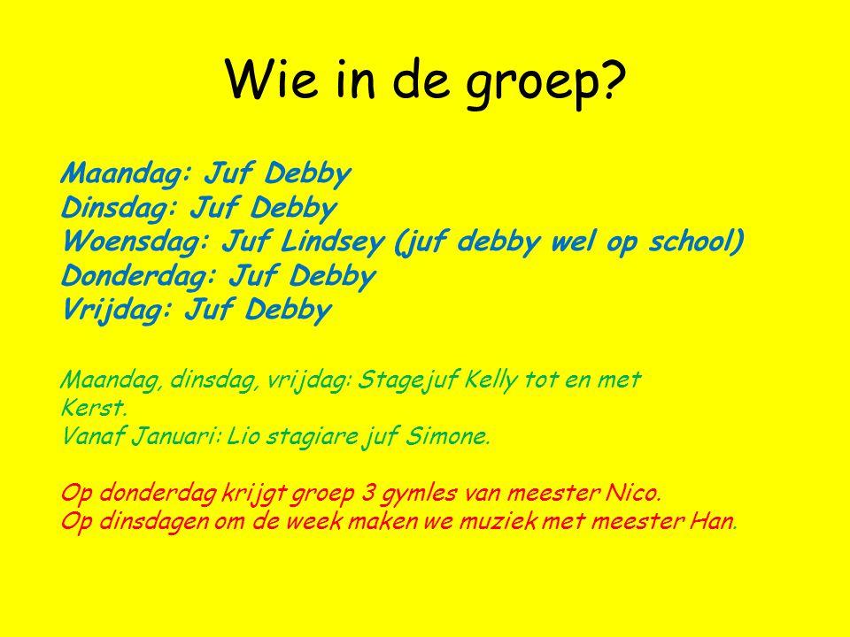 Wie in de groep Maandag: Juf Debby Dinsdag: Juf Debby