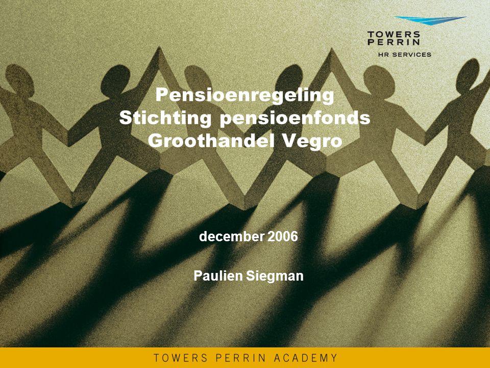 Pensioenregeling Stichting pensioenfonds Groothandel Vegro