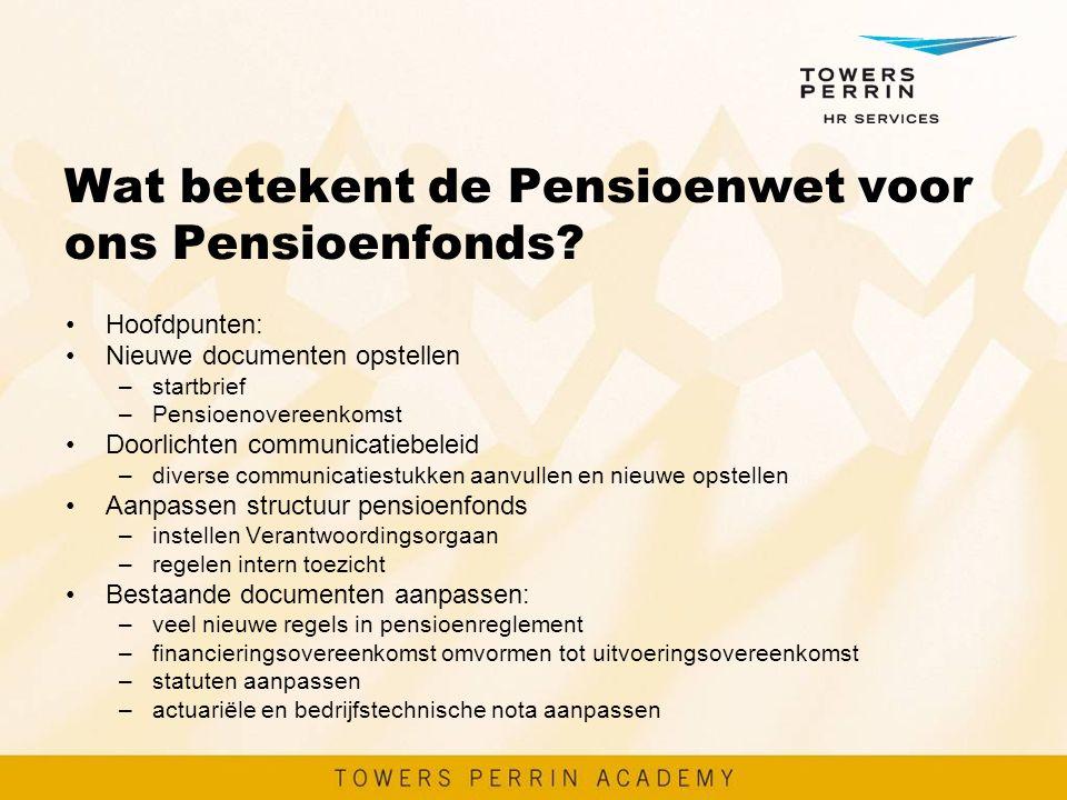Wat betekent de Pensioenwet voor ons Pensioenfonds