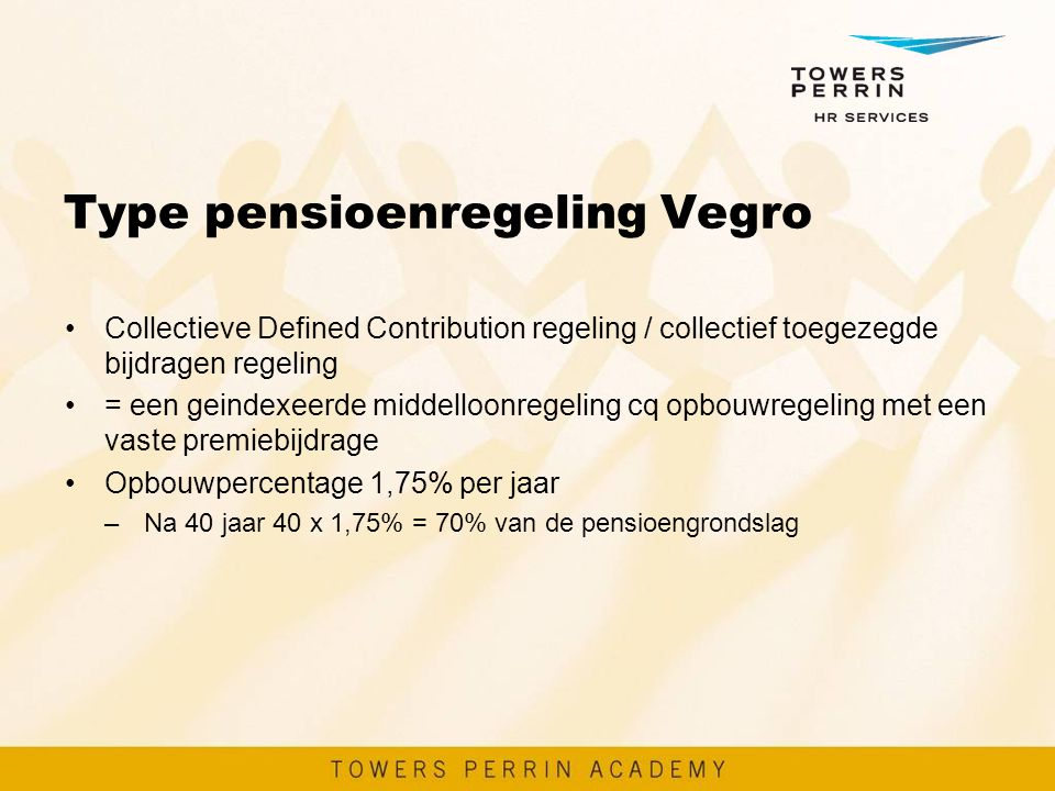 Type pensioenregeling Vegro