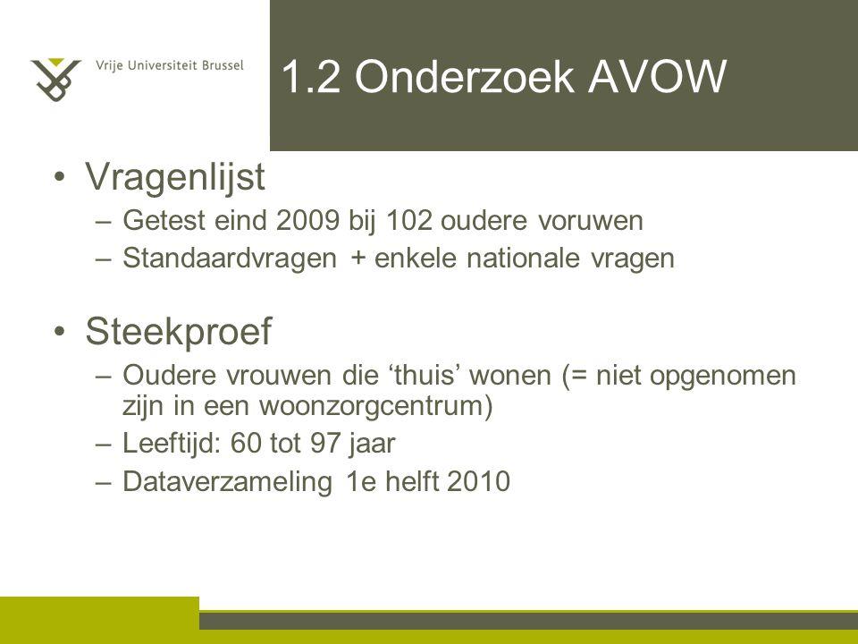 1.2 Onderzoek AVOW Vragenlijst Steekproef