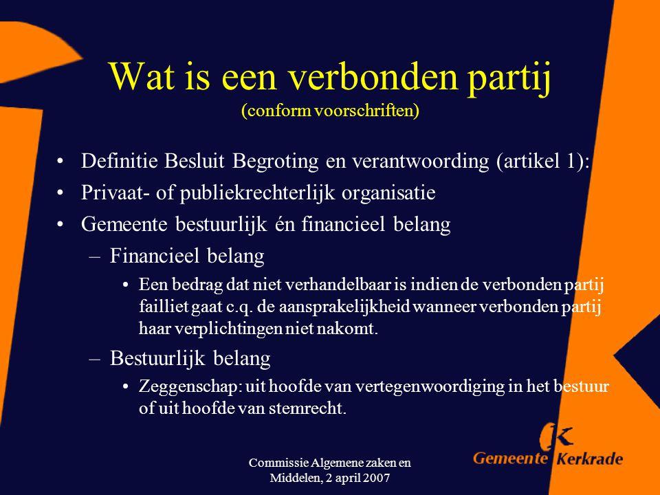 Wat is een verbonden partij (conform voorschriften)