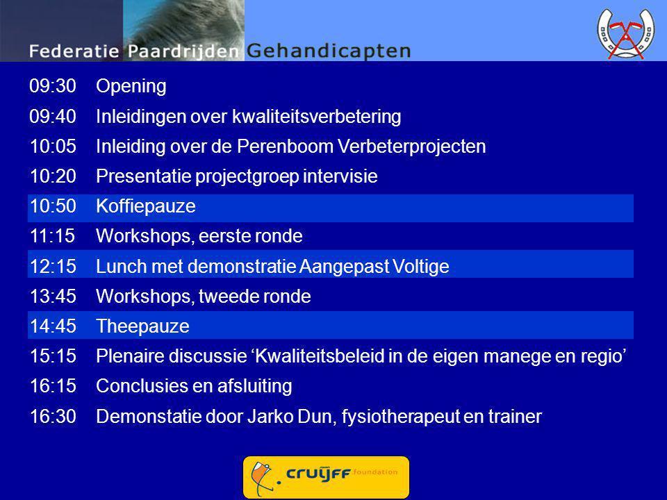 09:30 Opening 09:40 Inleidingen over kwaliteitsverbetering. 10:05 Inleiding over de Perenboom Verbeterprojecten.