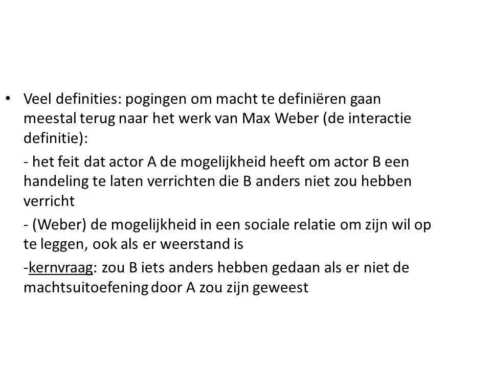 Veel definities: pogingen om macht te definiëren gaan meestal terug naar het werk van Max Weber (de interactie definitie):