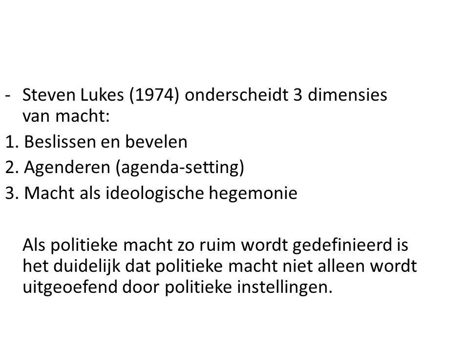 Steven Lukes (1974) onderscheidt 3 dimensies van macht: