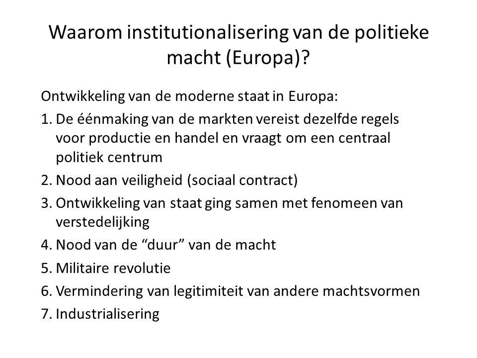 Waarom institutionalisering van de politieke macht (Europa)