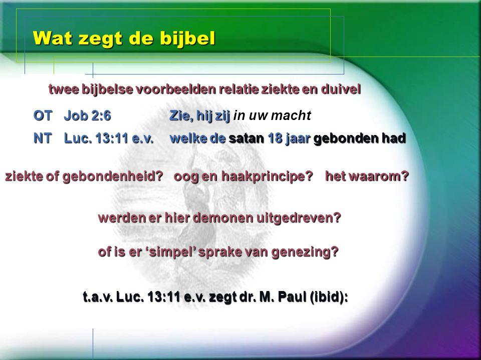 Wat zegt de bijbel twee bijbelse voorbeelden relatie ziekte en duivel