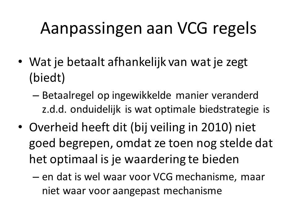 Aanpassingen aan VCG regels