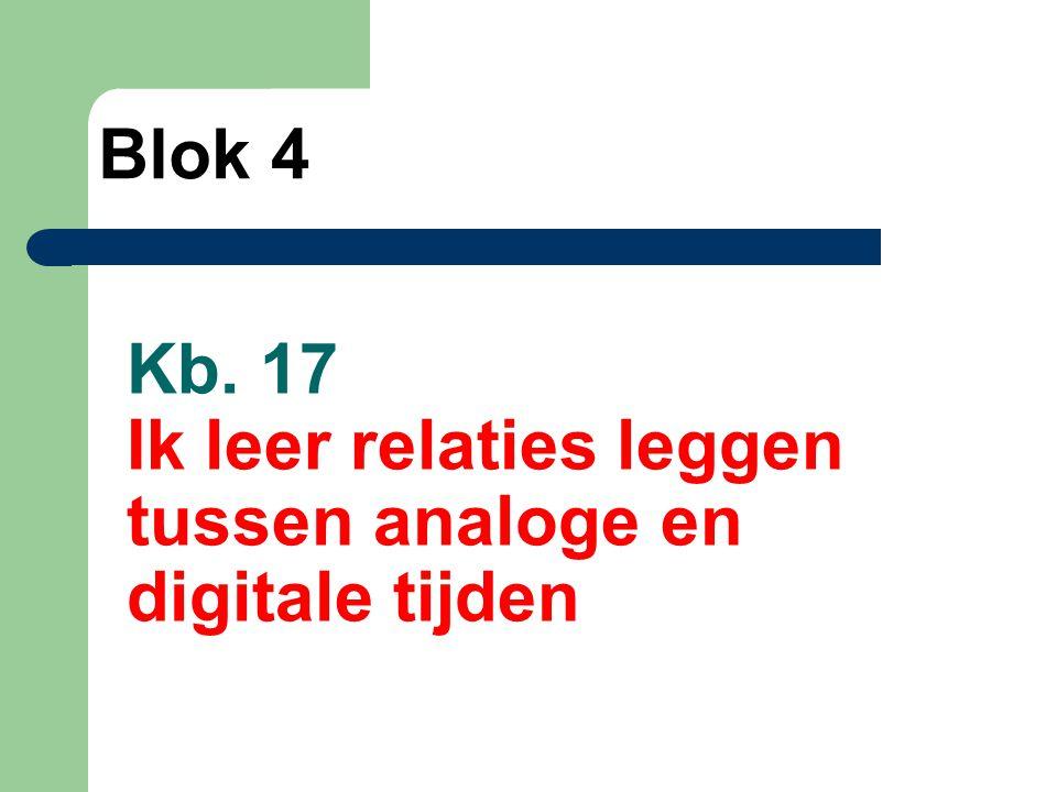 Kb. 17 Ik leer relaties leggen tussen analoge en digitale tijden