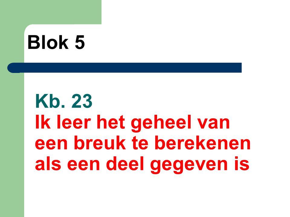 Blok 5 Kb. 23 Ik leer het geheel van een breuk te berekenen als een deel gegeven is