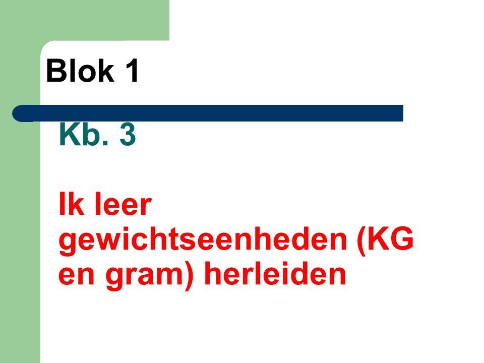 Kb. 3 Ik leer gewichtseenheden (KG en gram) herleiden
