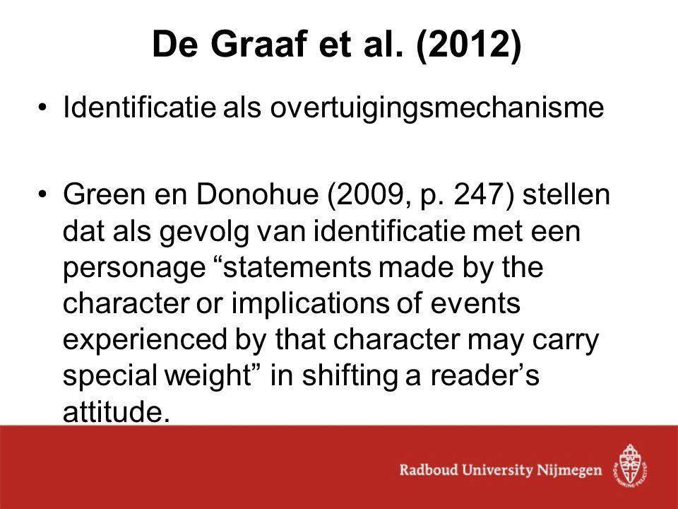 De Graaf et al. (2012) Identificatie als overtuigingsmechanisme