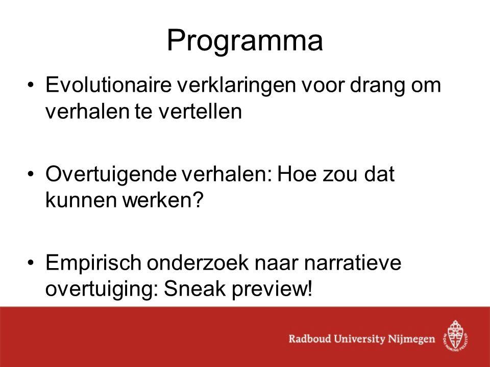 Programma Evolutionaire verklaringen voor drang om verhalen te vertellen. Overtuigende verhalen: Hoe zou dat kunnen werken