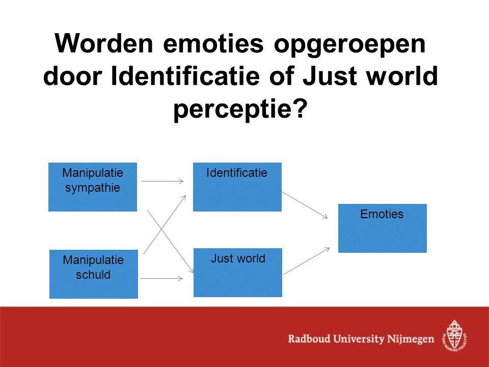 Worden emoties opgeroepen door Identificatie of Just world perceptie