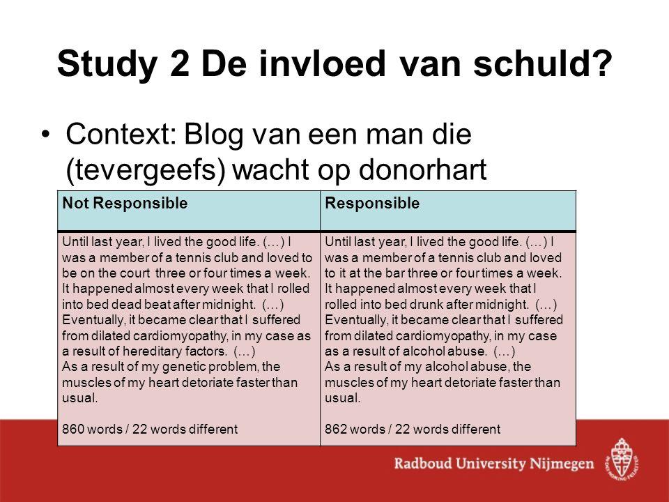 Study 2 De invloed van schuld