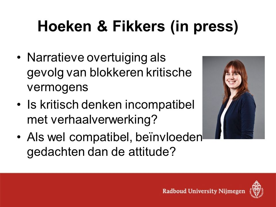 Hoeken & Fikkers (in press)