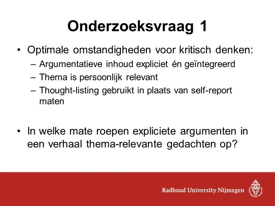 Onderzoeksvraag 1 Optimale omstandigheden voor kritisch denken: