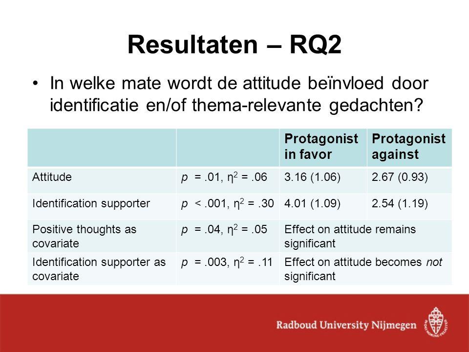 Resultaten – RQ2 In welke mate wordt de attitude beïnvloed door identificatie en/of thema-relevante gedachten