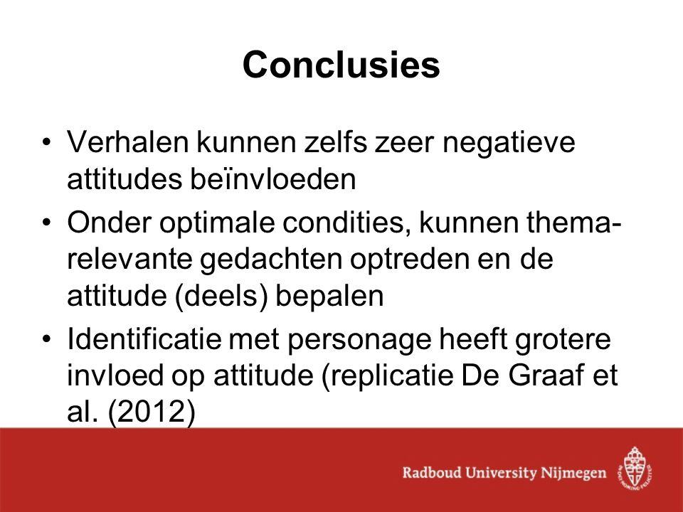 Conclusies Verhalen kunnen zelfs zeer negatieve attitudes beïnvloeden