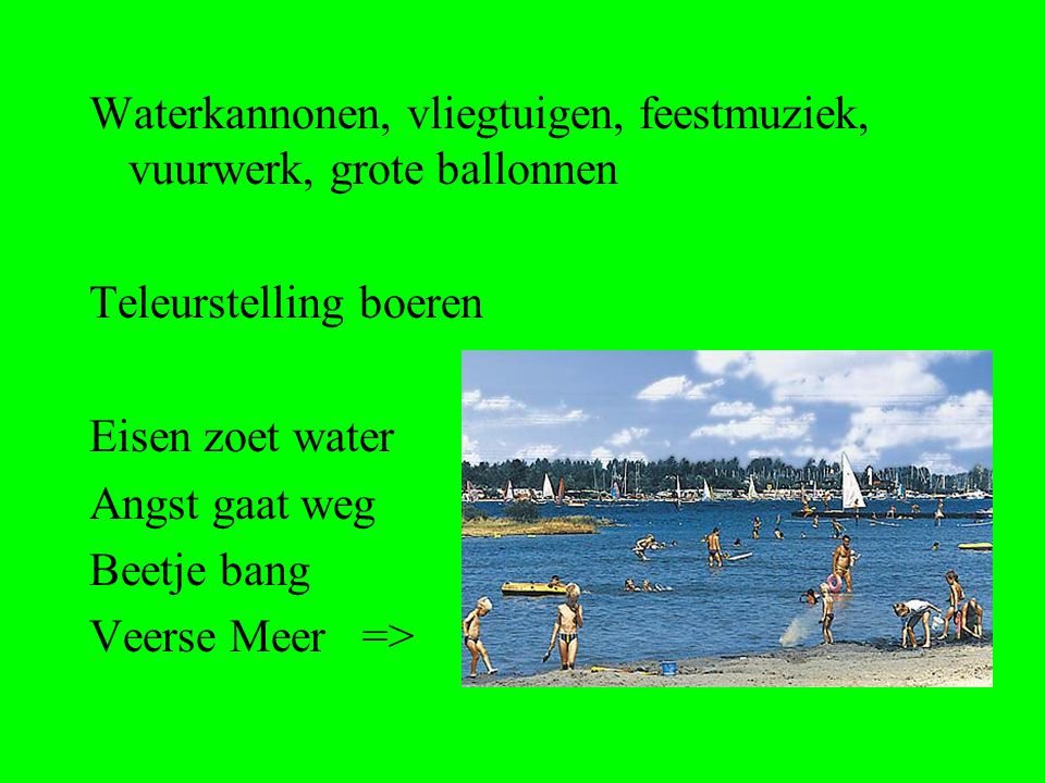 Waterkannonen, vliegtuigen, feestmuziek, vuurwerk, grote ballonnen