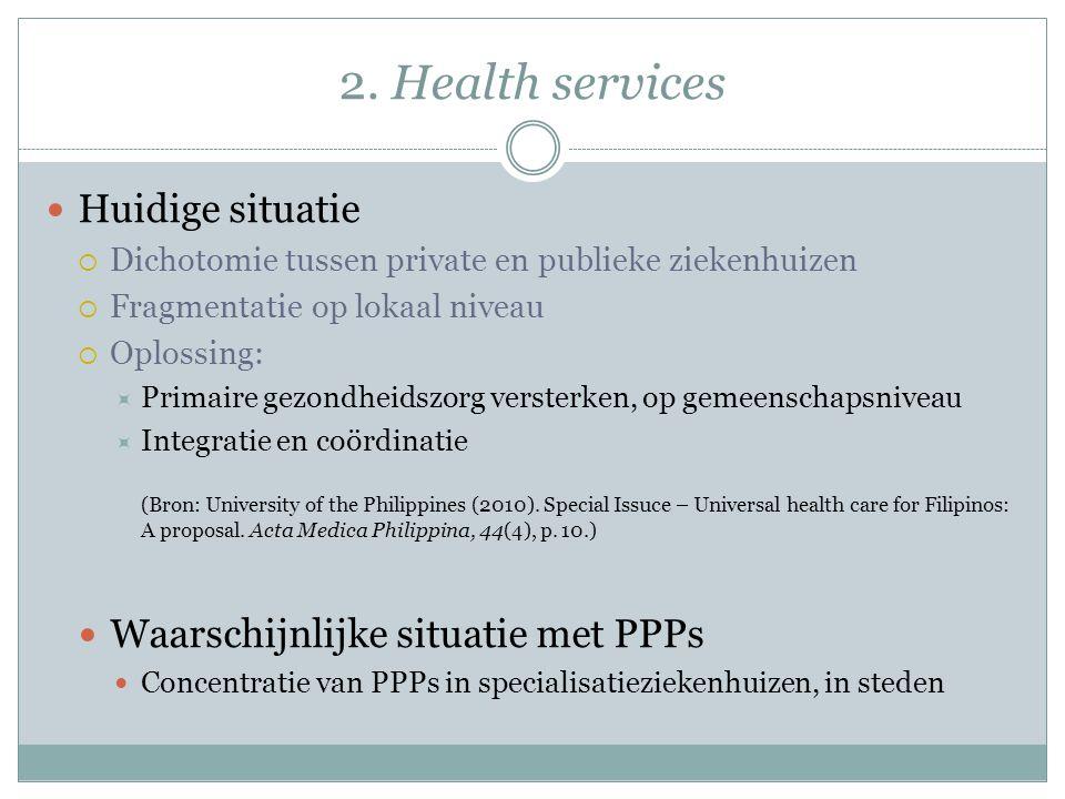 2. Health services Huidige situatie Waarschijnlijke situatie met PPPs