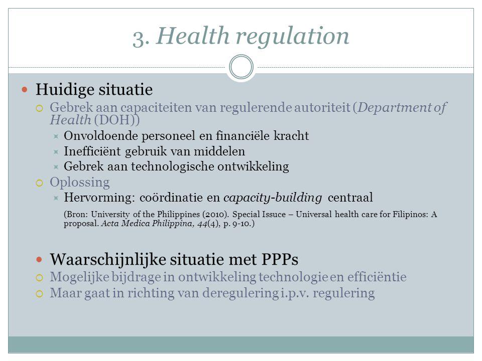 3. Health regulation Huidige situatie