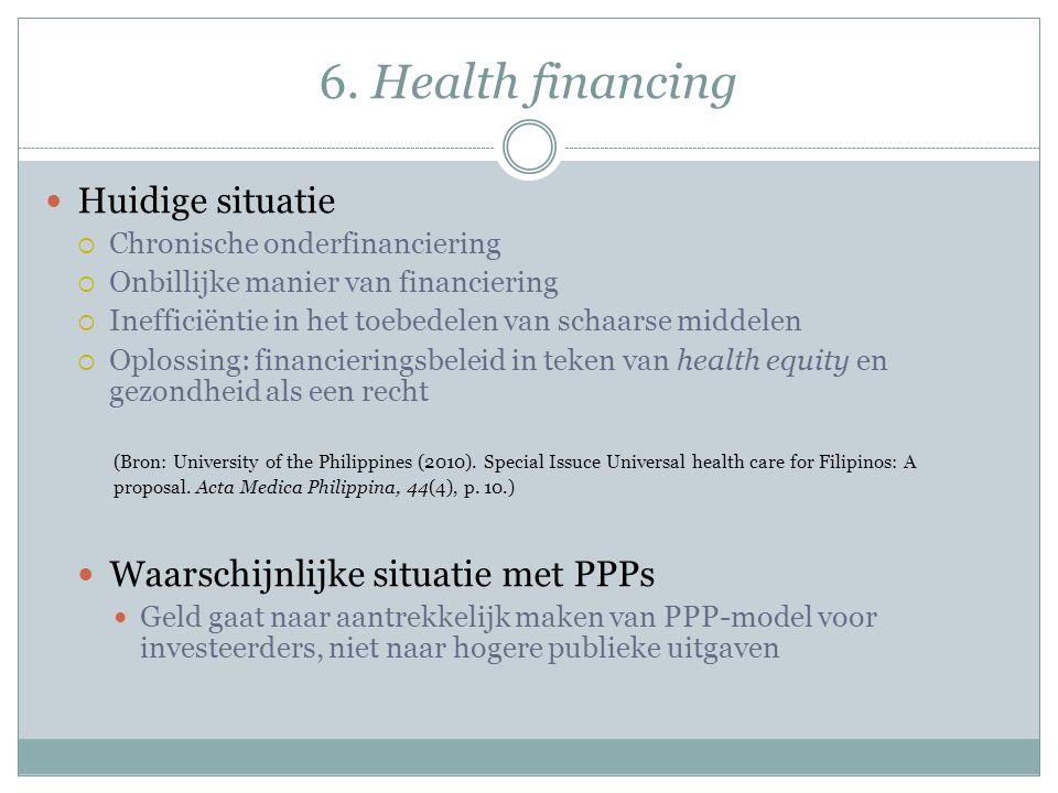 6. Health financing Huidige situatie Waarschijnlijke situatie met PPPs