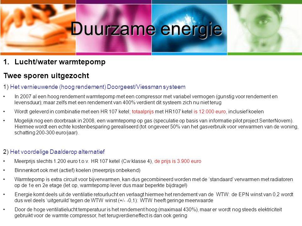 Duurzame energie Lucht/water warmtepomp Twee sporen uitgezocht