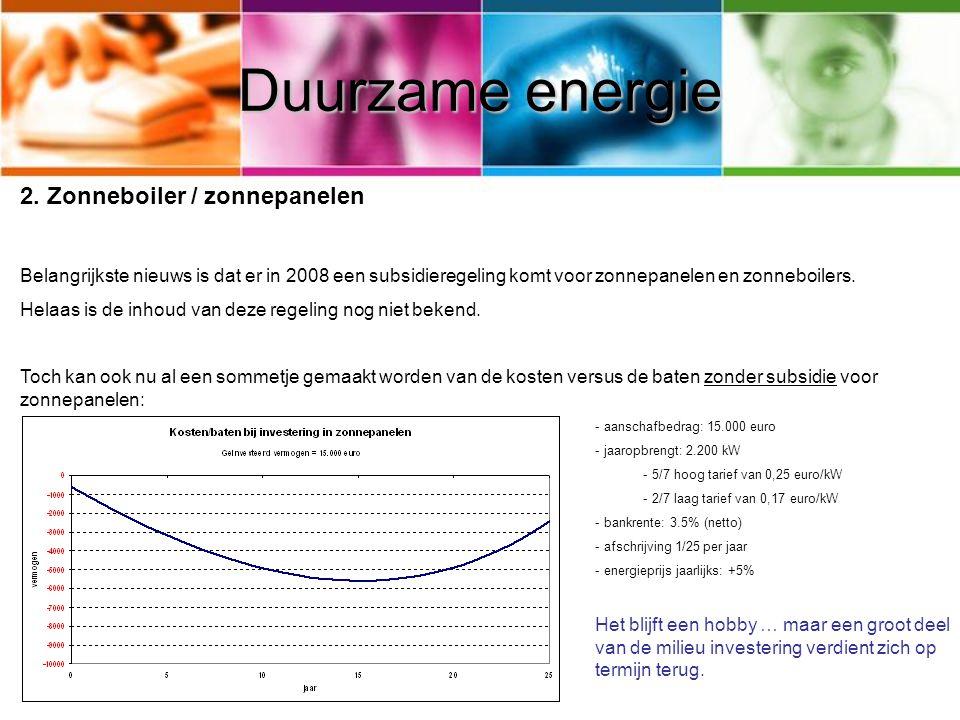 Duurzame energie Zonneboiler / zonnepanelen