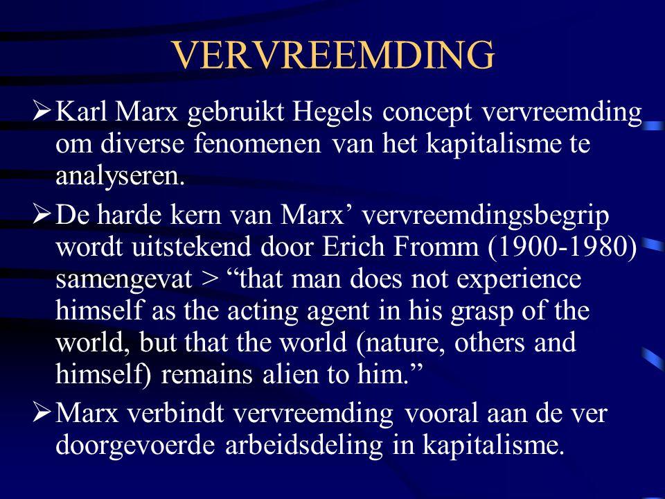 VERVREEMDING Karl Marx gebruikt Hegels concept vervreemding om diverse fenomenen van het kapitalisme te analyseren.