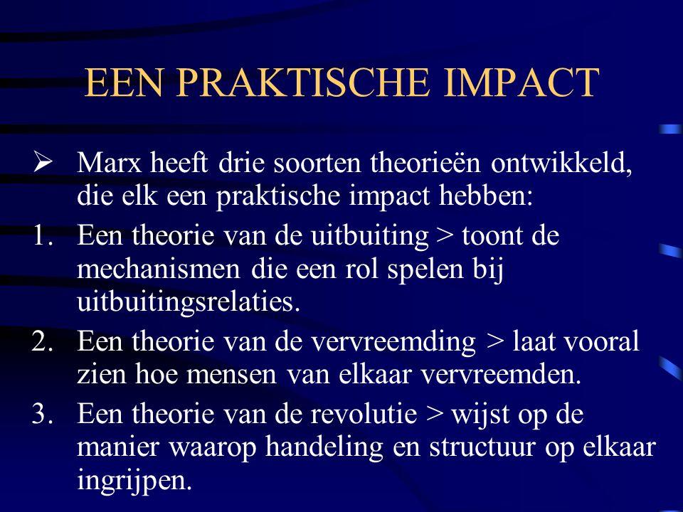 EEN PRAKTISCHE IMPACT Marx heeft drie soorten theorieën ontwikkeld, die elk een praktische impact hebben: