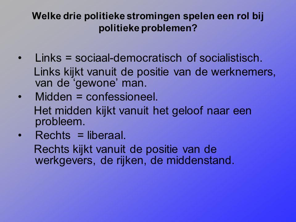 Links = sociaal-democratisch of socialistisch.