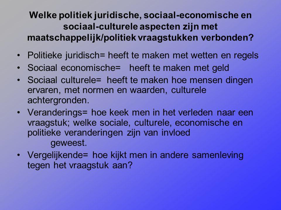 Welke politiek juridische, sociaal-economische en sociaal-culturele aspecten zijn met maatschappelijk/politiek vraagstukken verbonden