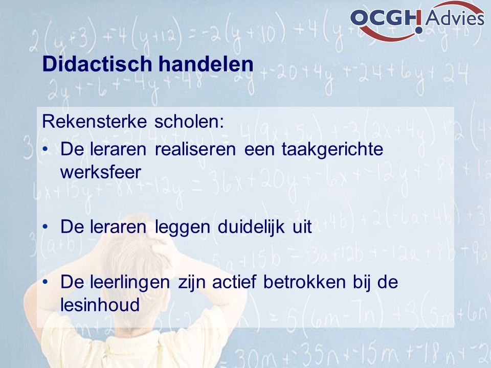 Didactisch handelen Rekensterke scholen: