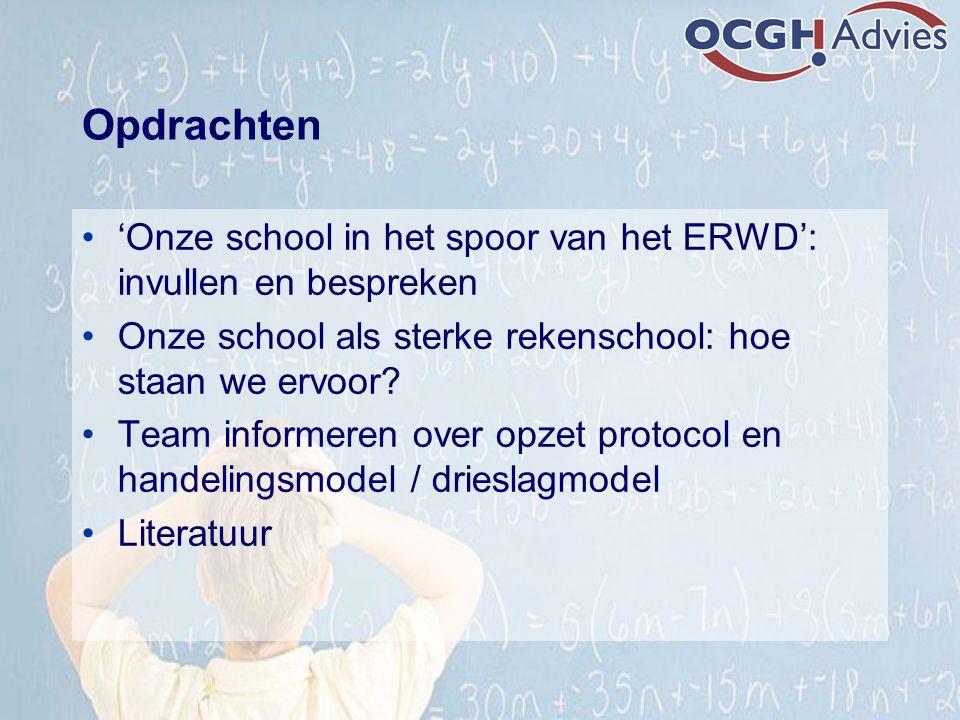 Opdrachten 'Onze school in het spoor van het ERWD': invullen en bespreken. Onze school als sterke rekenschool: hoe staan we ervoor