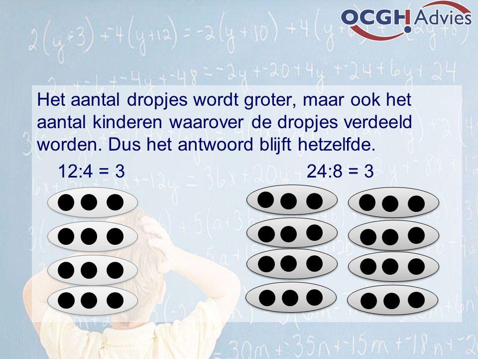 Het aantal dropjes wordt groter, maar ook het aantal kinderen waarover de dropjes verdeeld worden. Dus het antwoord blijft hetzelfde.