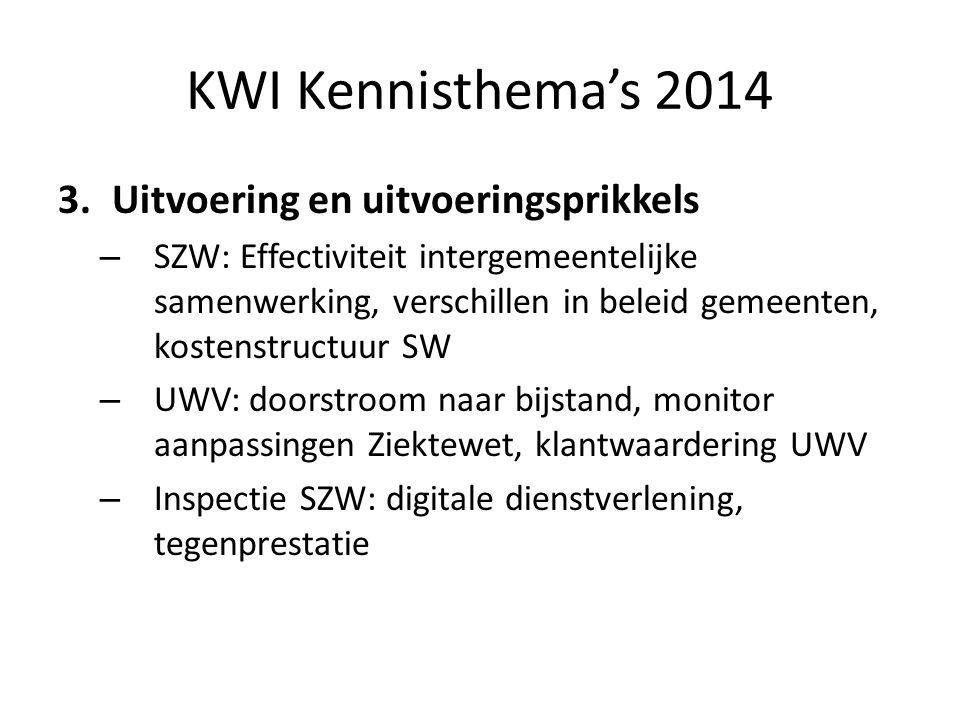 KWI Kennisthema's 2014 Uitvoering en uitvoeringsprikkels