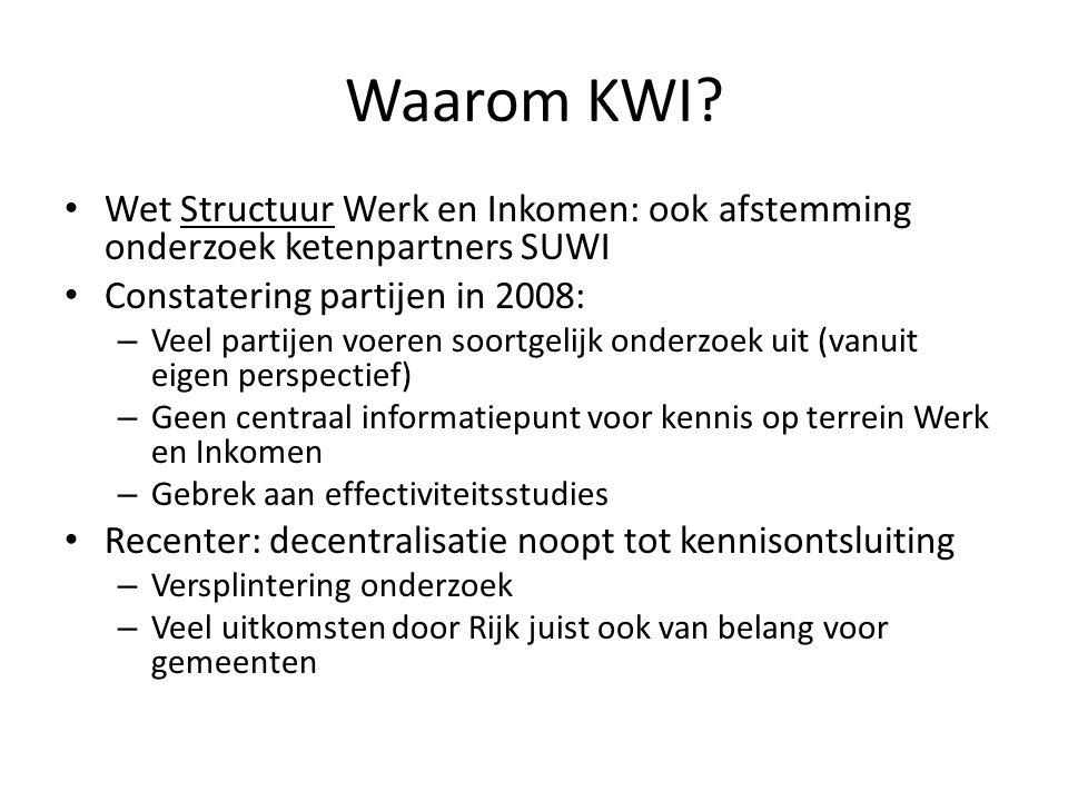 Waarom KWI Wet Structuur Werk en Inkomen: ook afstemming onderzoek ketenpartners SUWI. Constatering partijen in 2008: