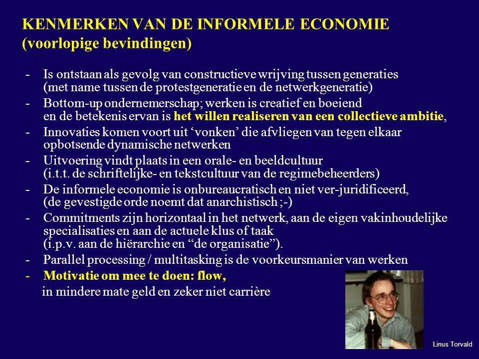 KENMERKEN VAN DE INFORMELE ECONOMIE (voorlopige bevindingen)