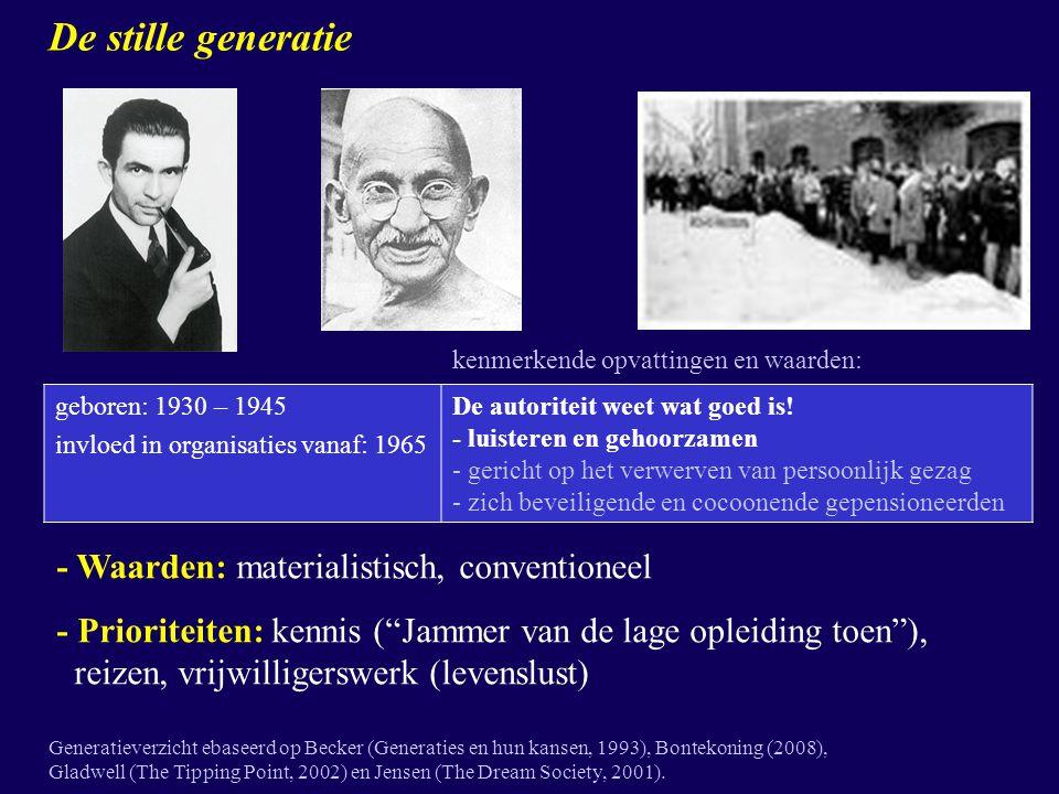De stille generatie - Waarden: materialistisch, conventioneel