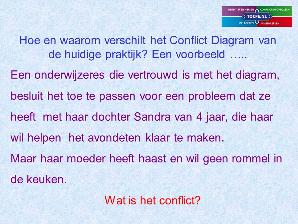 Hoe en waarom verschilt het Conflict Diagram van de huidige praktijk