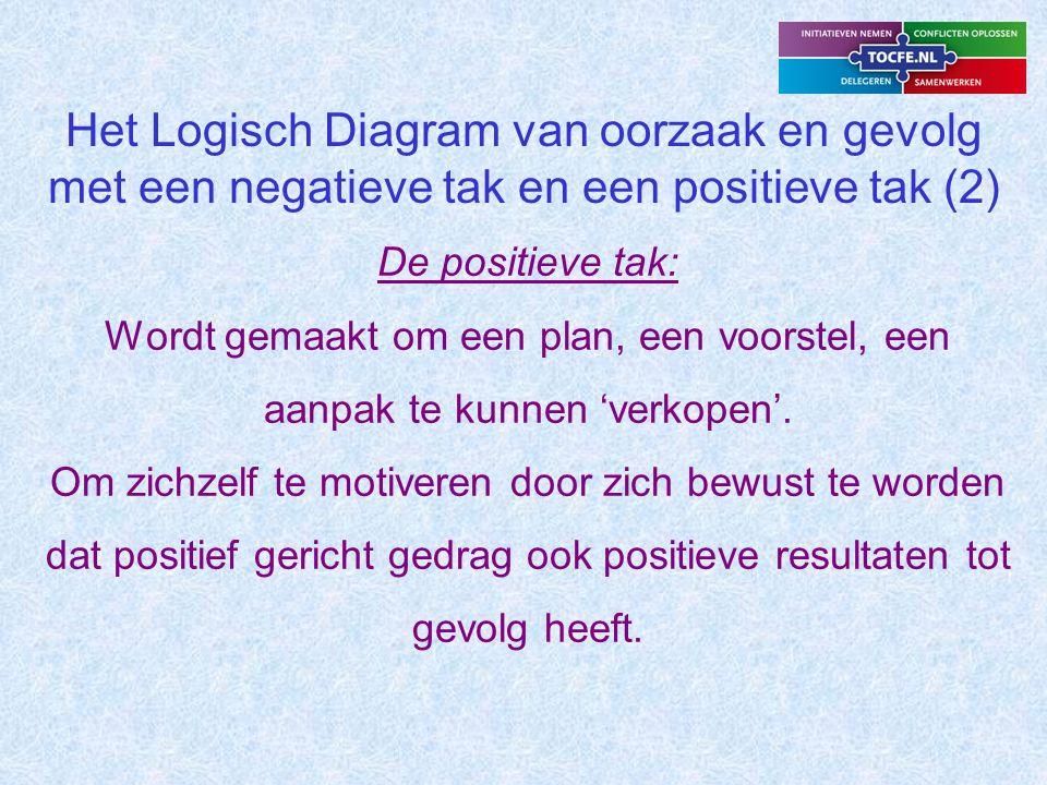 Het Logisch Diagram van oorzaak en gevolg met een negatieve tak en een positieve tak (2)